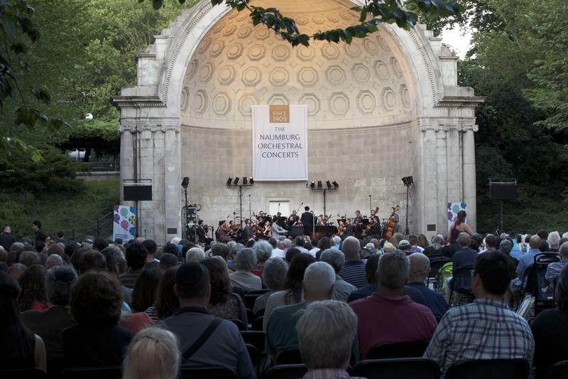 A packed crowd at the Naumburg Bandshell.