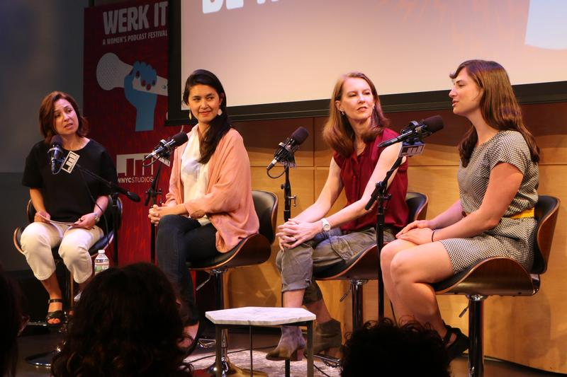 From left, Manoush Zomorodi, Megan Tan, Gretchen Rubin and Andrea Silenzi in conversation at Werk It