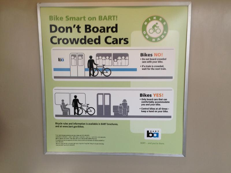A sign reminding riders not to bring bikes on crowded BART trains
