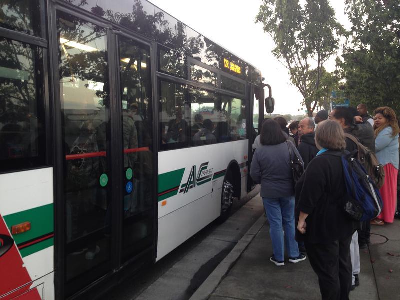 Boarding an AC Transit bus