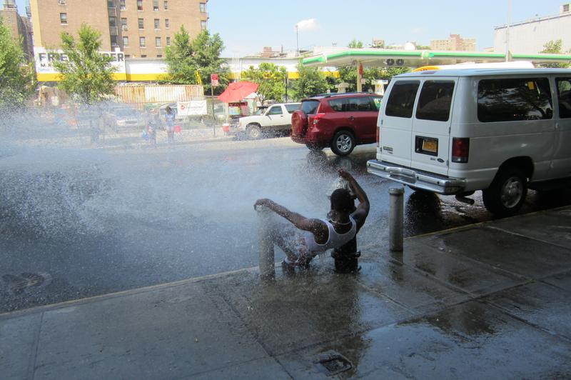 Open fire hydrant on E. 149th St., South Bronx