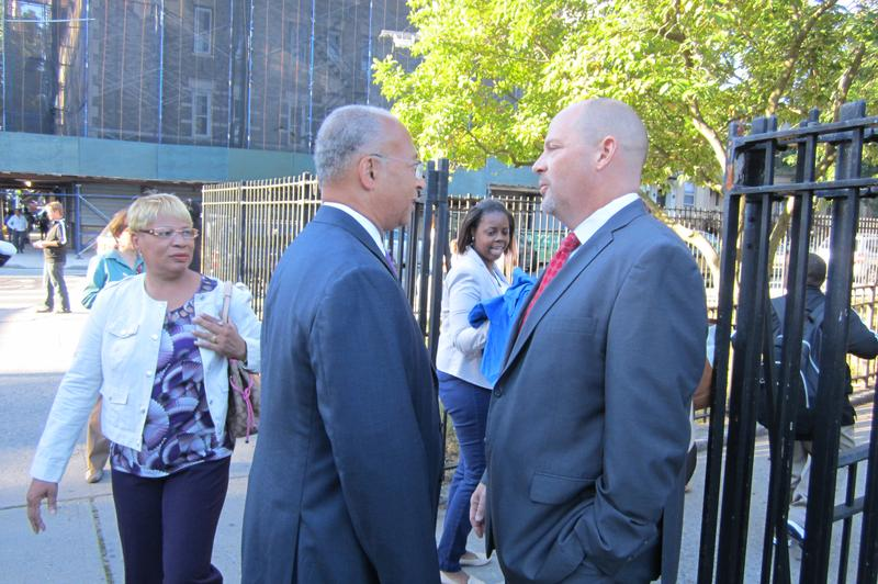 Teachers union President Michael Mulgrew with mayoral hopeful Bill Thompson outside P.S. 262 in Brooklyn