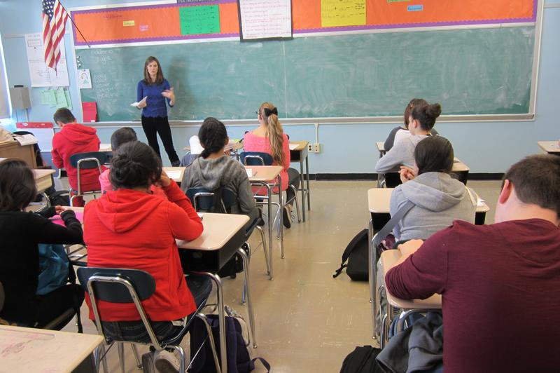 Dr. Jamie Howard of the Child Mind Institute leading a workshop with 8th graders at I.S. 2 on how to cope post-Sandy