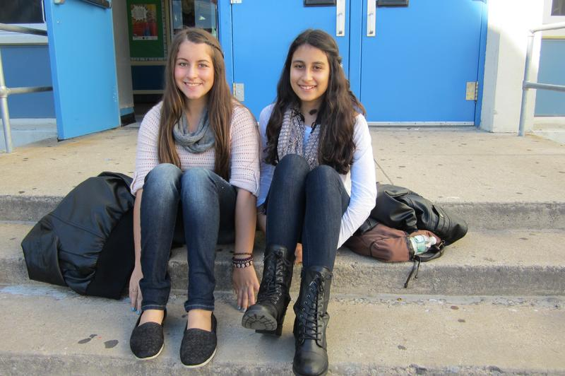 Ashley McCarthy (left) and Francesca Berisa, eighth graders at I.S. 2 on Staten Island