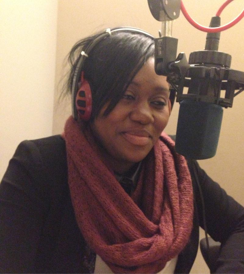 Danielle Motindabeka records her narration at WNYC.