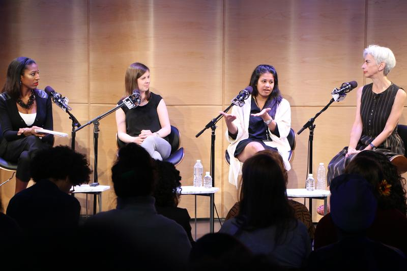 From left, Keli Goff,  Katie Bishop, Arwa Gunja and Melissa Eagan discussing guest booking tactics at the Werk It festival