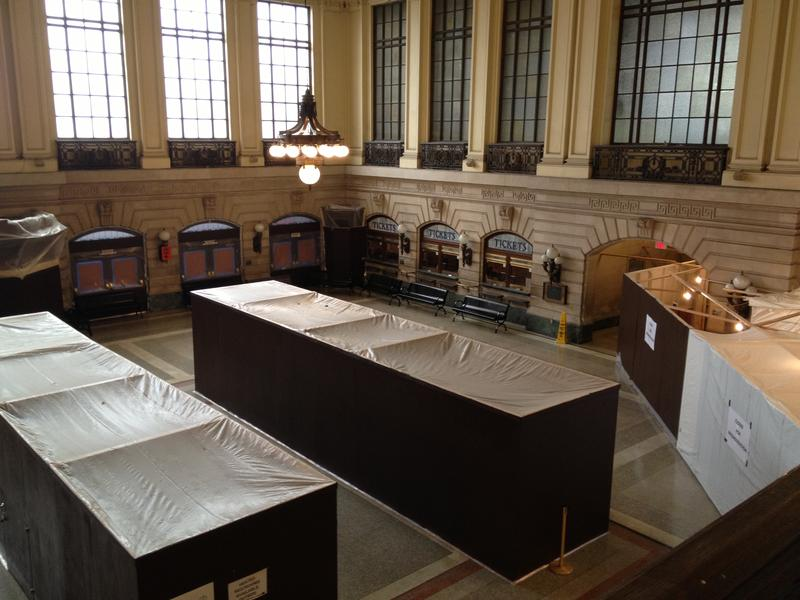 The historic Hoboken waiting area, as seen from the balcony area (photo taken by a NJ Transit police officer because the stairs were off-limits to the public)