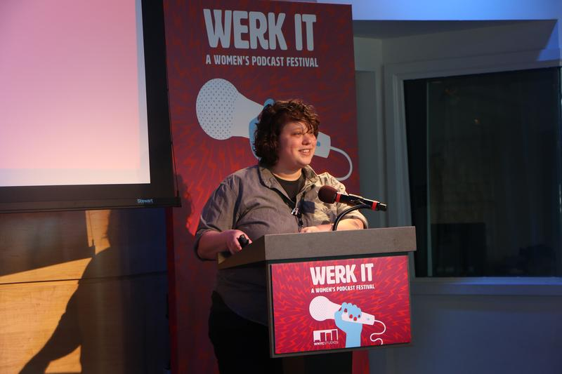 Kelsey Padgett shows how to make a podcast at the Werk It festival