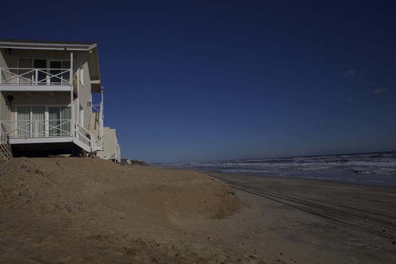 Some erosion is visible in back of the Royal Atlantic in Montauk right on the beach.