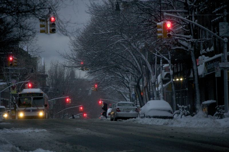 5th Avenue in Park Slope, Brooklyn after snowstorm.