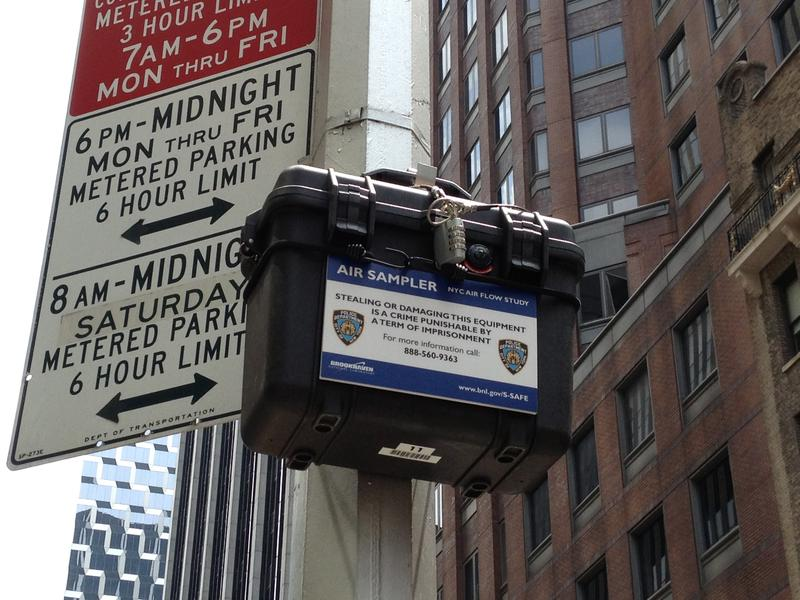 An air sampler on West 47th Street -- part of a scientific study to understand how the subway system affects airflow