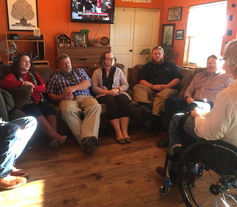 L to R: Oklahoma residents Tracey Swafford, Wayne McConnell, Meg Stewart, Will McConnell, and Dwayne Danker speak with Takeaway Host John Hockenberry. 01/23/17