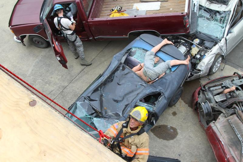 First responders rescue dummies from crumpled cars during the Cascadia Rising earthquake simulation.