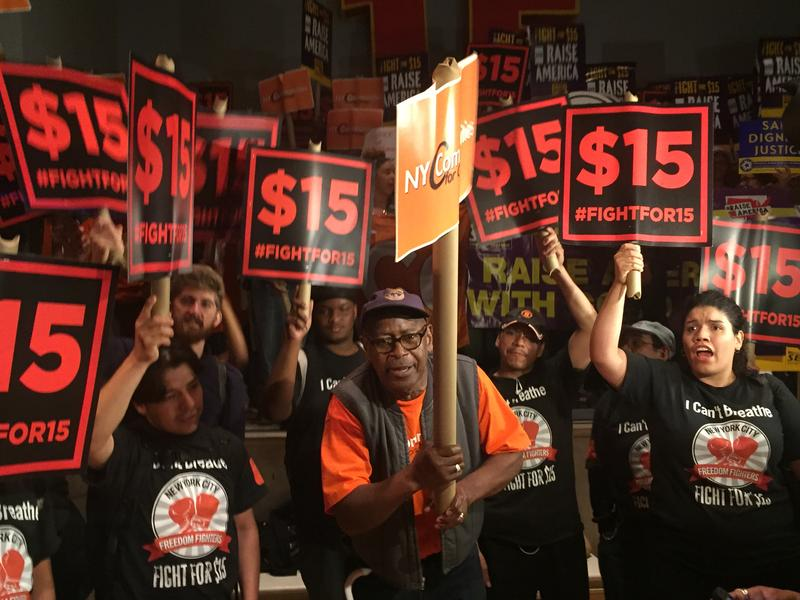 Fast food workers rally for wage increase to 15 dollars an hour June 15 at NYU before a Fast Food Wage Board Hearing.