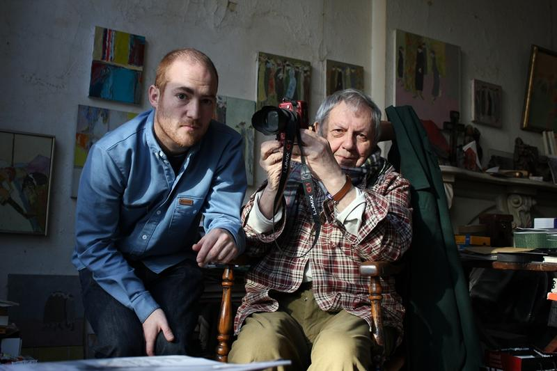 Director Tomas Leach and photographer Saul Leiter.