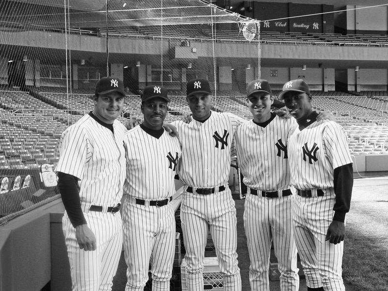 Jason Giambi, Willie Randolph, Derek Jeter, Robin Ventura, Alfonso Soriano in 2002