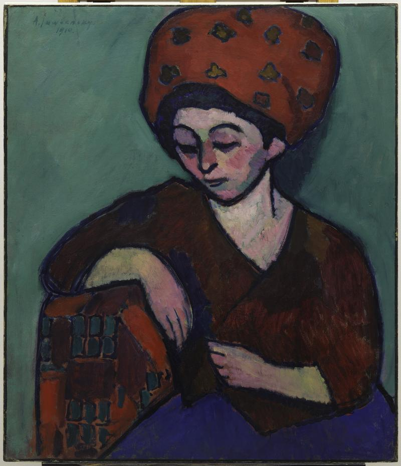 """""""Girl with Green Face"""" by Alexei Jawlensky now on view at the Neue Galerie."""