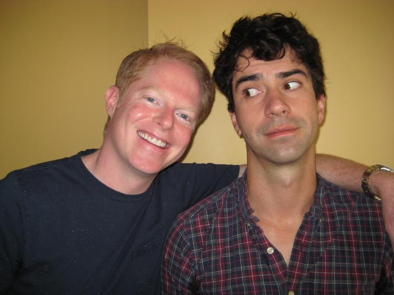 Jesse Tyler Ferguson and Hamish Linklater in the WNYC studios