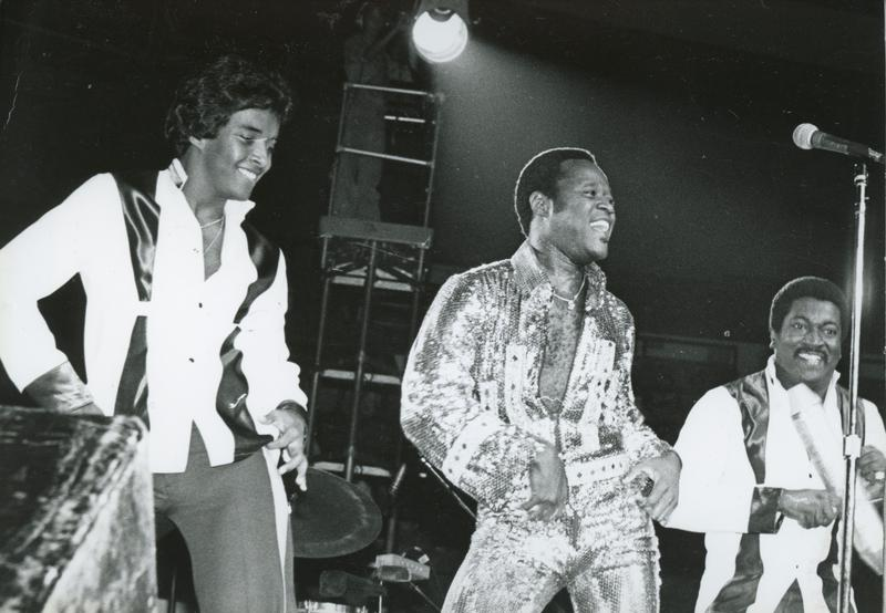 "Dominican ""Johnny Ventura"" (center), a world ambassador of Merengue music, in New York circa 1990"