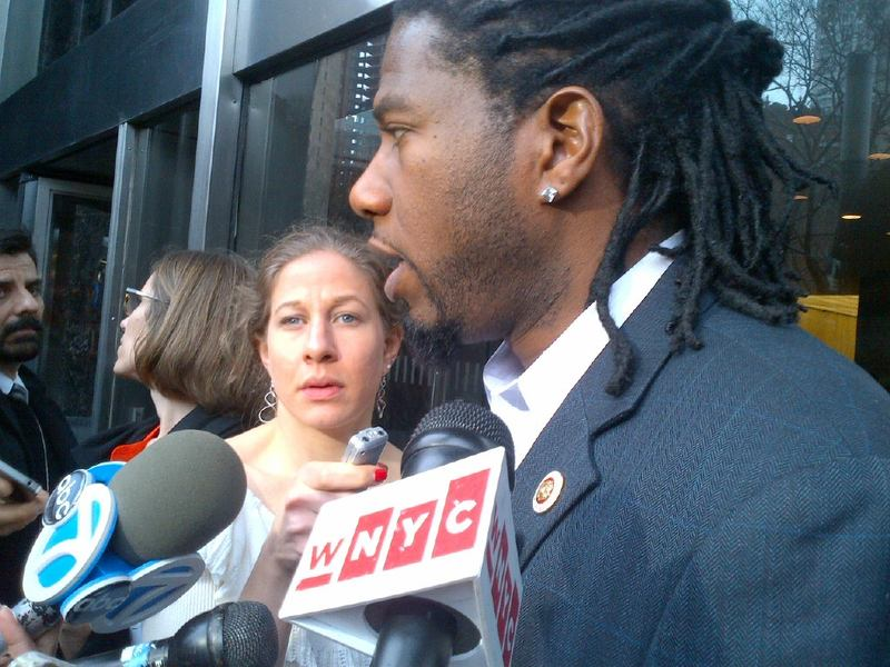 Councilman Jumaane Williams talks to reporters after a heated with Commissioner Kelly during a City Council hearing.