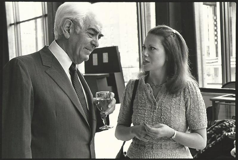 June LeBell with Avery Fisher in Avery Fisher Hall, 1981.