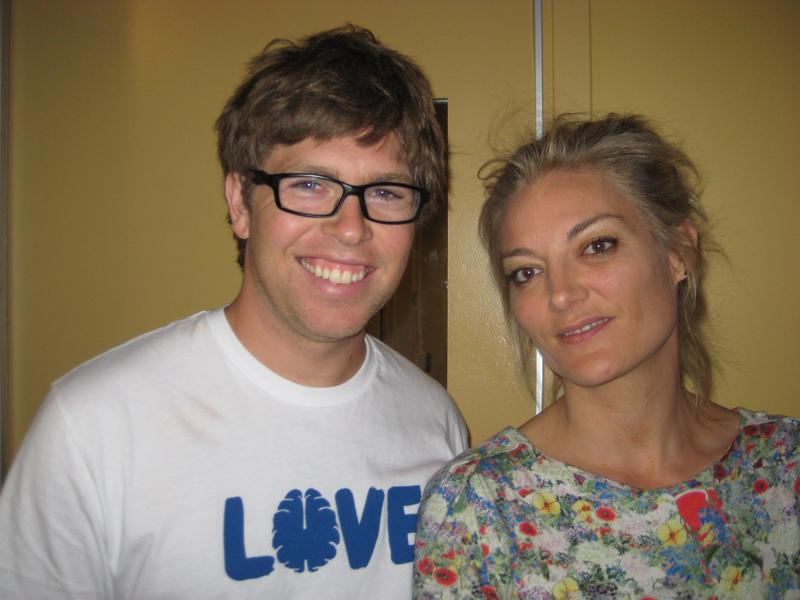 "Kevin Pearce and Lucy Walker at WNYC July 12, 2013. They were on the Lopate Show discussing the documentary ""The Crash Reel."""
