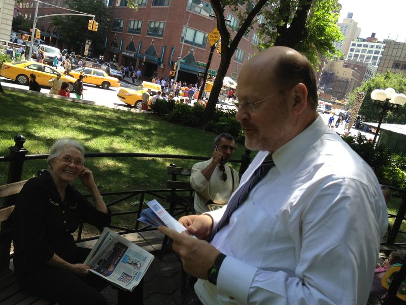 Republican mayoral candidate Joe Lhota campaigning in Union Square Park.