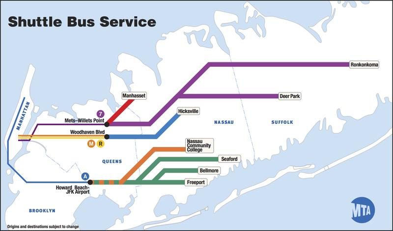 MTA shuttle bus service in the event of a Long Island Rail Road strike