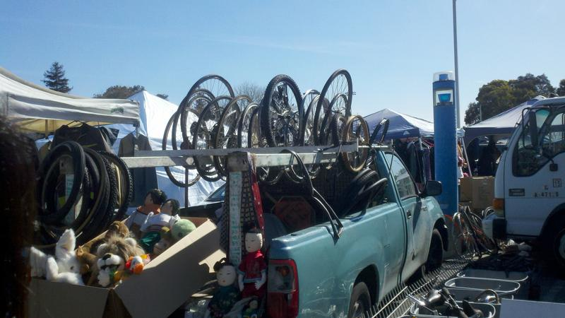 Bicycles at the Laney Flea Market in Oakland, Calif. (Isabel Angell)