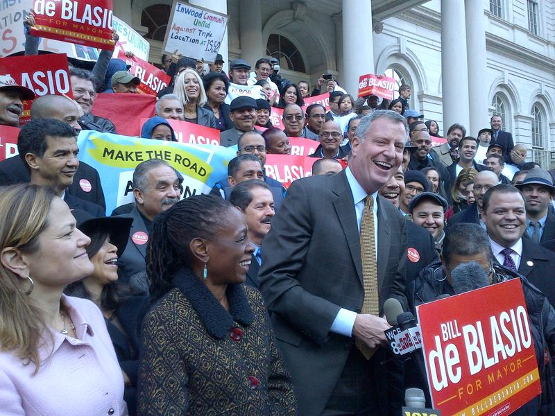 Bill de Blasio rallies on City Hall steps with Latino leaders the last Sunday before Election Day.