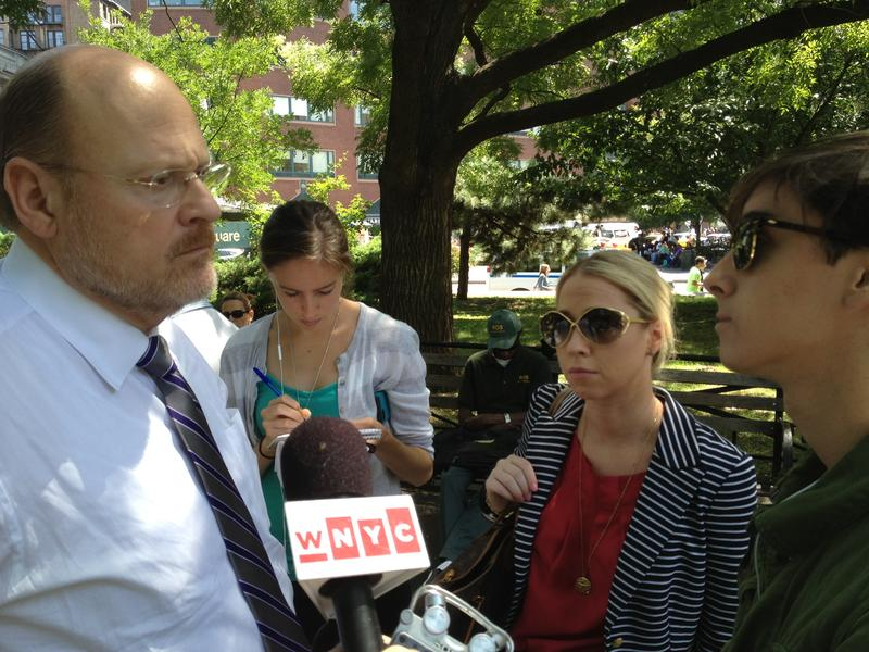 Republican mayoral candidate Joe Lhota campaigning in Union Square Park this summer.
