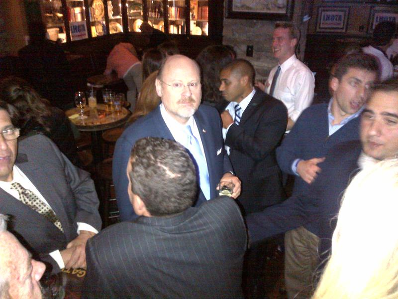 Republican Joe Lhota mingles with supporters at Peter Dillon's Pub after the second mayoral debate.