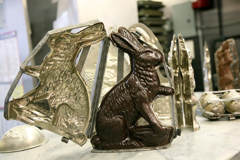 Vintage molds are used to make bunnies at Li-Lac Chocolates, an icon shop that's been in Greenwich Village for more than a century.
