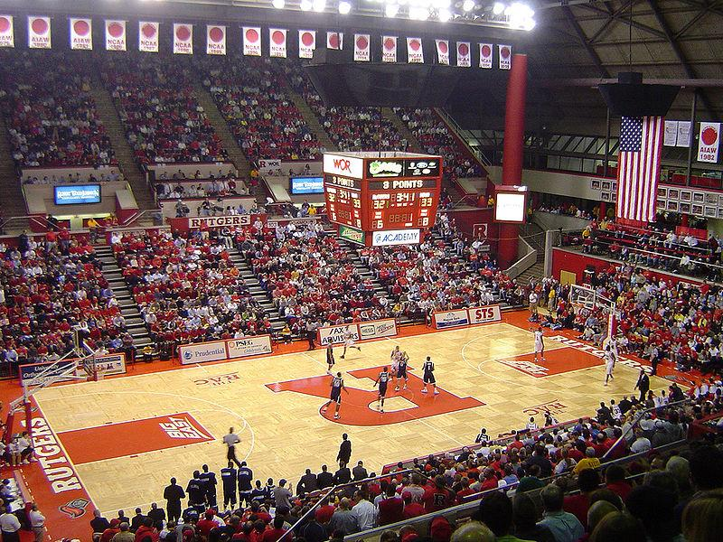 "Interior of the Louis Brown Athletic Center, known also as the ""RAC"", during a game between Rutgers and Villanova in 2006."