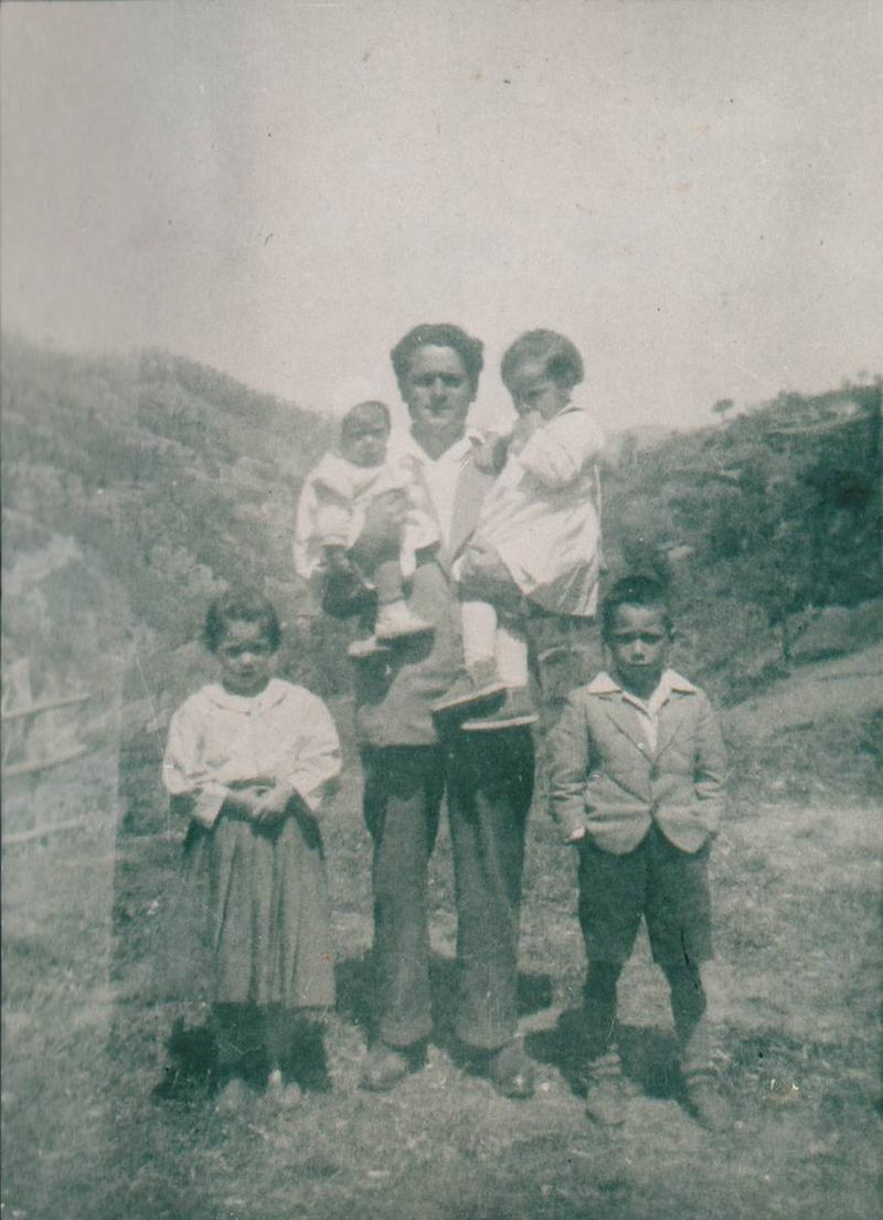 Joseph Luzzi's father, Pasquale, and his children in Calabria, shortly before their passage to the United States.