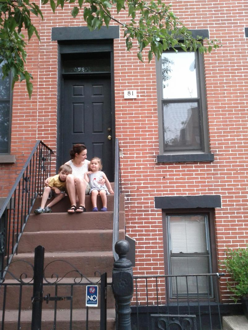 New Tech City host Manoush Zomorodi and family on her Brooklyn stoop