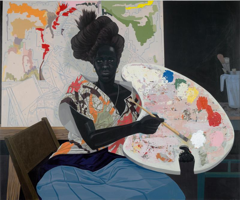 "Kerry James Marshall's ""Untitled (Painter)."" Can you spot the references to abstract artists like Pollock and de Kooning?"