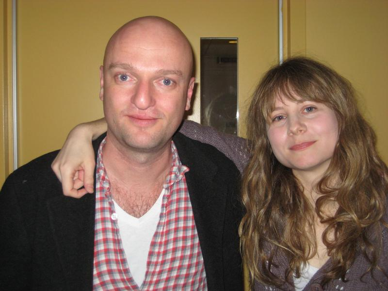 Actor Michael Maher and playwright Annie Baker in the WNYC studios