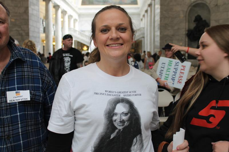 "Mindy Vincent at a ""Rally for Recovery"" in the Utah State Capitol on March 6th to raise awareness for prescription drug addiction."