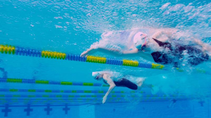Missy Franklin and Kara Lynn Joyce swimming in Florida.