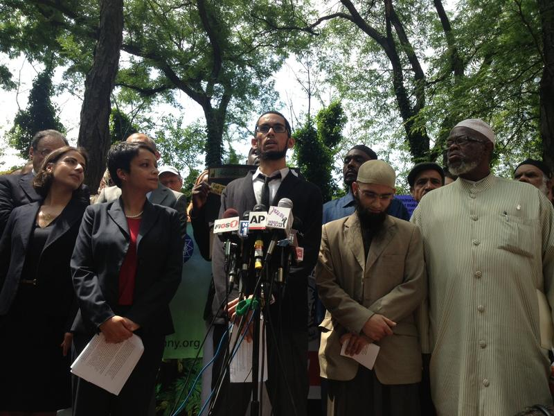 Plaintiff Asad Dandia speaks to reporters about a federal lawsuit challenging the NYPD's surveillance of Muslims.