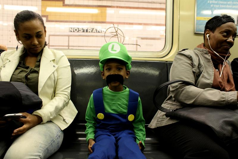 Nathaniel Bishon, 5, from Bedford-Stuyvesant dressed as Luigi.