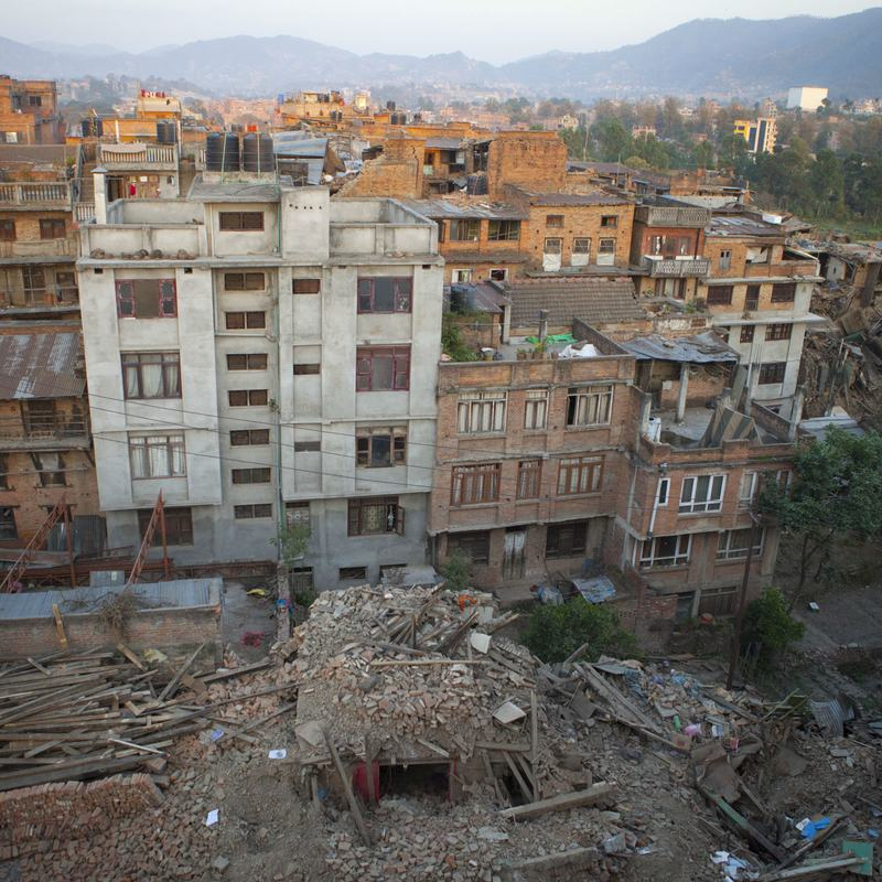 A view of a Nepalese city after the April 25, 2015 earthquake.