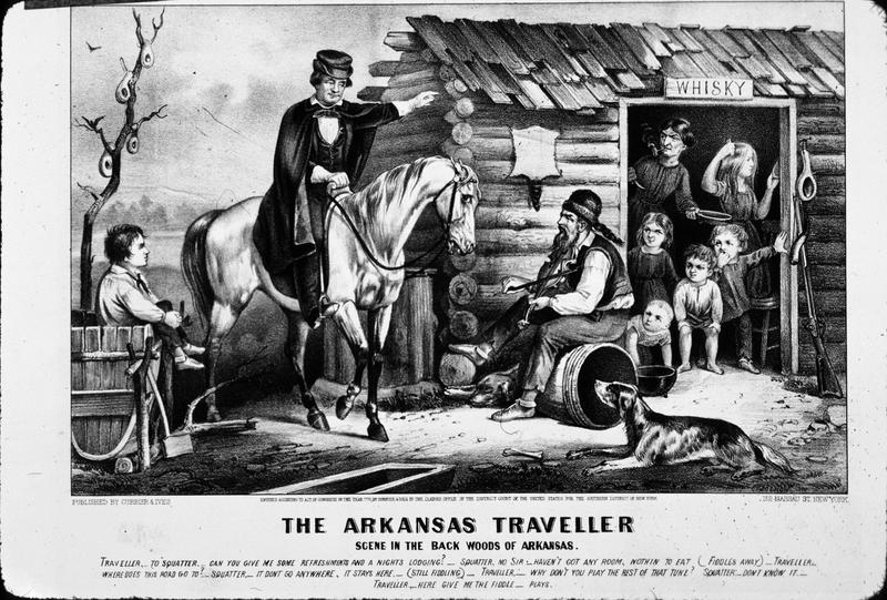 A traveler in the backwoods of Arkansas seeks accommodation and directions from a squatter and his family, but finds them less than helpful. Original Artwork: Printed by Currier & Ives, circa 1870.