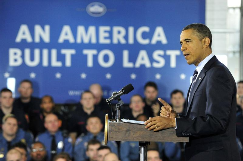 President Barack Obama makes remarks on the economy at a fire station in Arlington, Virginia.
