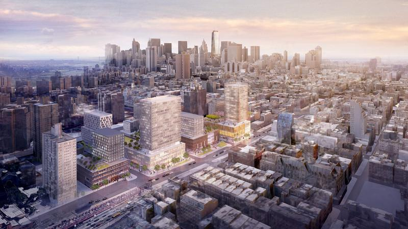 Overview renderings of Essex Crossing development on the Lower East Side by SHop Architects.