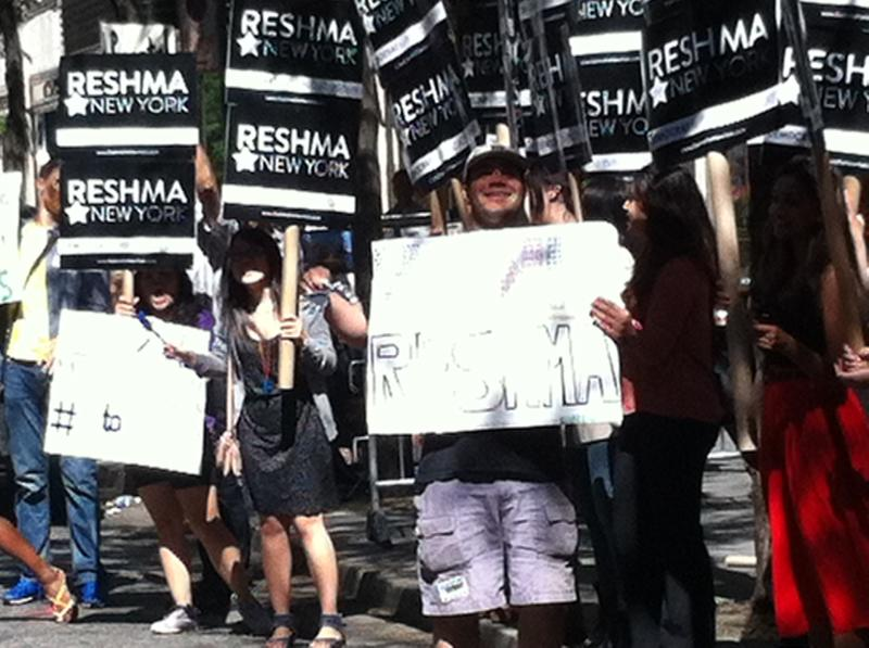 Supporters of public advocate candidate Reshma Saujani gather outside the debate at NBC.