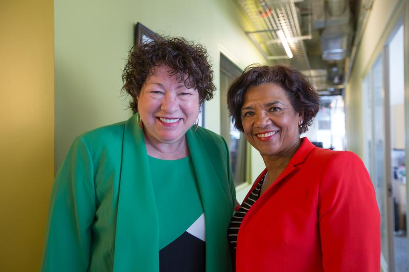 U.S. Supreme Court Justice Sonia Sotomayor with Death, Sex & Money guest host Sonia Manzano