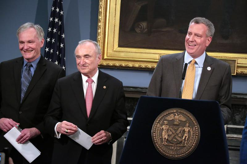 Correction Commissioner Joseph Ponte, NYPD Commissioner Bill Bratton and Mayor Bill de Blasio