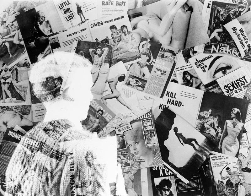 "A ""ghosted"" image of a teen stands before a wide array of pornographic magazines in this double exposure shot in New York, March 6, 1964."